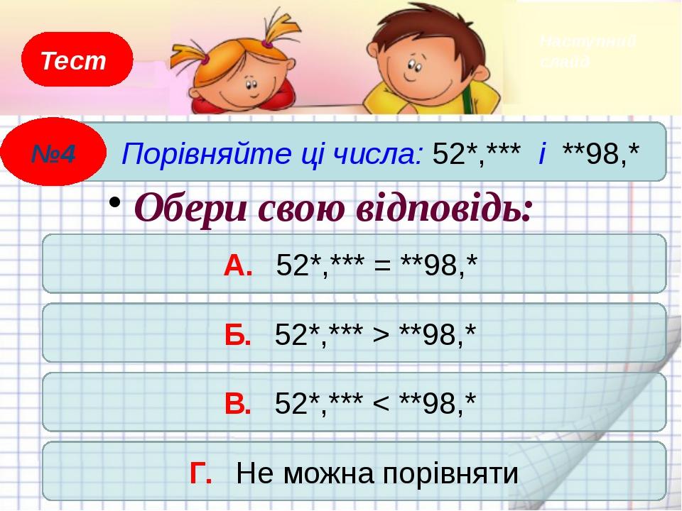 Тест Порівняйте ці числа: 35,*** і 32,*** А. Не можна порівняти Б. 35,*** < 3...