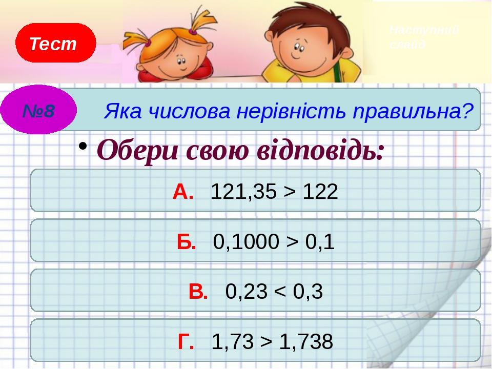 Тест А. 71,39 < 82,79 Б. 8,283 > 8,293 В. 0,7 > 0,275 Г. 0,0059 < 0,0095 Обер...