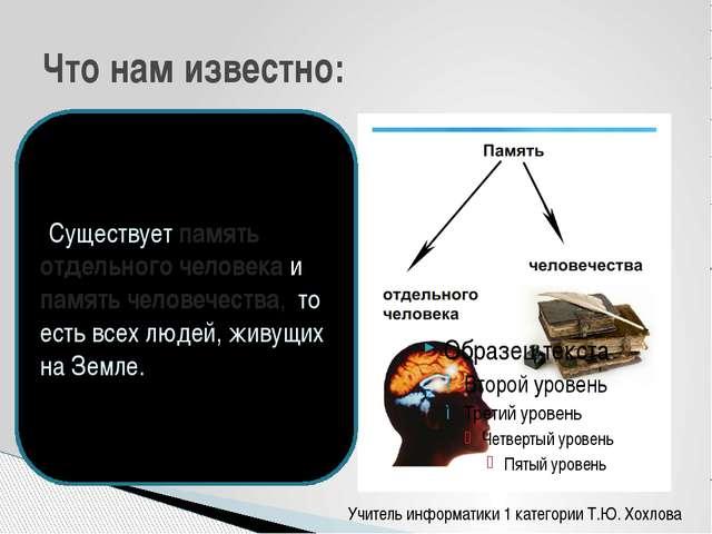 Что нам известно: Существует память отдельного человека и память человечества...