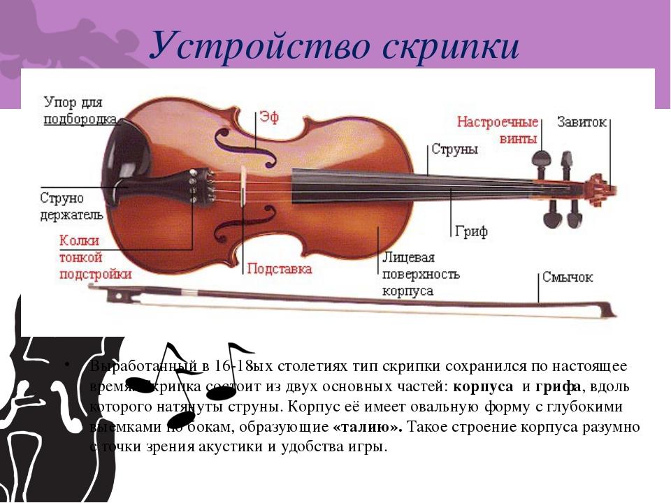 Устройство скрипки Выработанный в 16-18ых столетиях тип скрипки сохранился по...