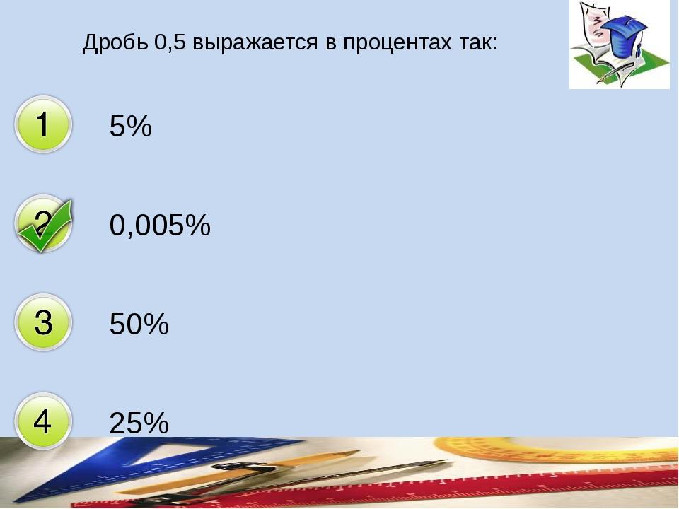 Дробь 0,5 выражается в процентах так: 5% 0,005% 50% 25%