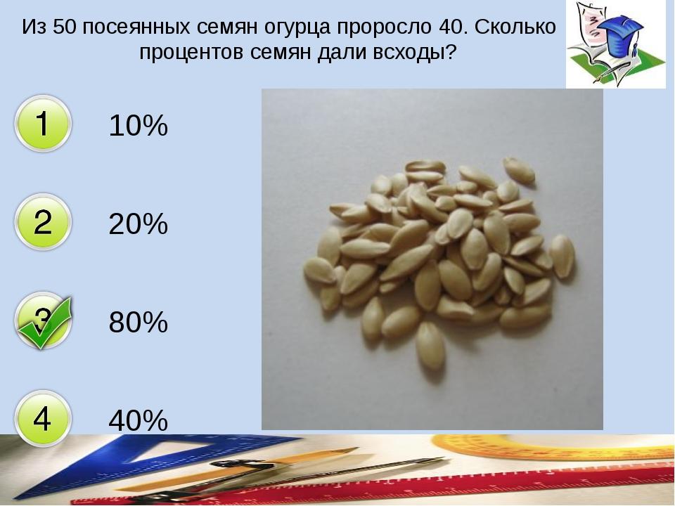 Из 50 посеянных семян огурца проросло 40. Сколько процентов семян дали всходы...