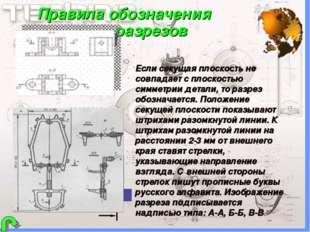 Правила обозначения разрезов Если секущая плоскость не совпадает с плоскость