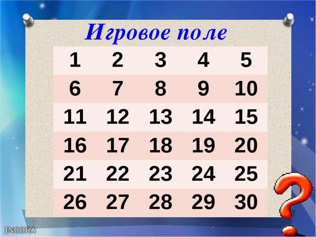Игровое поле 1 2 3 4 5 6 7 8 9 10 11 12 13 14 15 16 17 18 19 20 21 22 23 24 2...