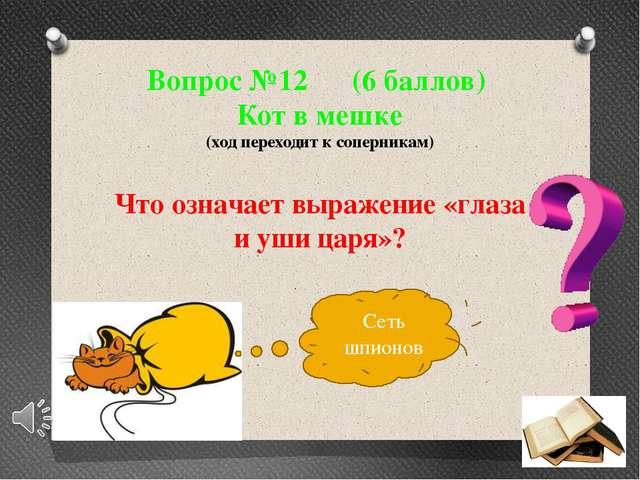 Вопрос №12 (6 баллов) Кот в мешке (ход переходит к соперникам) Что означает в...