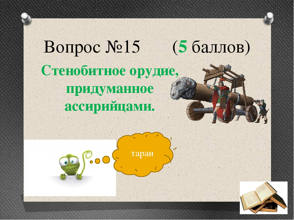 Вопрос №15 (5 баллов) Стенобитное орудие, придуманное ассирийцами. таран