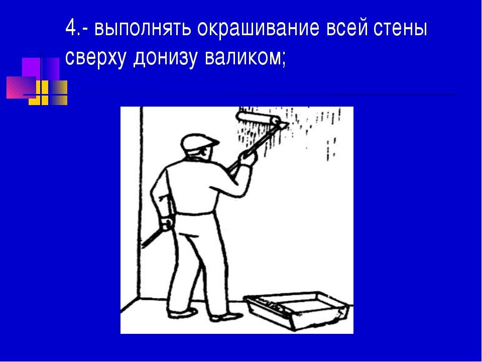 4.- выполнять окрашивание всей стены сверху донизу валиком;