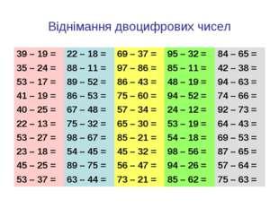 Віднімання двоцифрових чисел