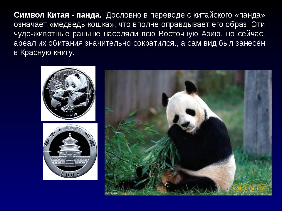 Символ Китая - панда. Дословно в переводе с китайского «панда» означает «мед...
