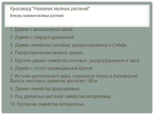 """Кроссворд """"Названия хвойных растений"""" Вписать названия хвойных растений. 1. Д"""