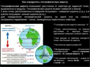 Как определить географическую широту Географическая широтапоказывает расстоя