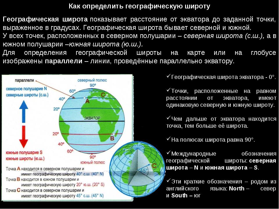 Как определить географическую широту Географическая широтапоказывает расстоя...
