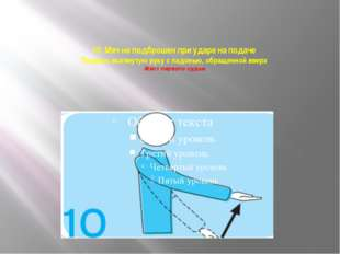 10. Мяч не подброшен при ударе на подаче Поднять вытянутую руку с ладонью, об