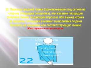22. Переход средней линии (проникновение под сеткой на сторону площадки сопе