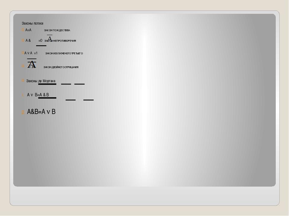 Законы логики A=A ЗАКОН ТОЖДЕСТВВА A & =0 ЗАКОН НЕПРОТИВОРЕЧИЯ A  A =1 ЗАКОН...