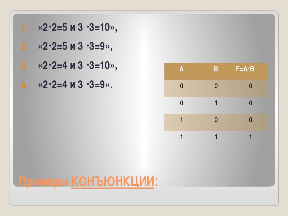 Примеры КОНЪЮНКЦИИ: «22=5 и 3 3=10», «22=5 и 3 3=9», «22=4 и 3 3=10», «...