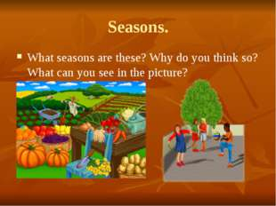 Seasons. What seasons are these? Why do you think so? What can you see in the