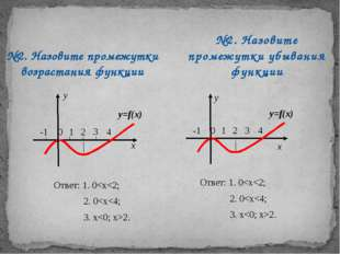 №2. Назовите промежутки возрастания функции №2. Назовите промежутки убывания