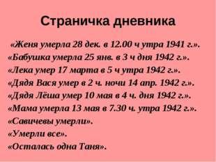 Страничка дневника «Женя умерла 28 дек. в 12.00 ч утра 1941 г.». «Бабушка уме