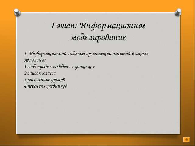 I этап: Информационное моделирование 3. Информационной моделью организации за...