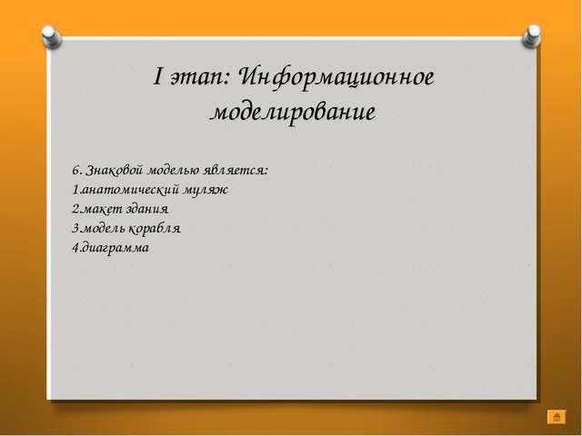 I этап: Информационное моделирование 6. Знаковой моделью является: анатомичес...