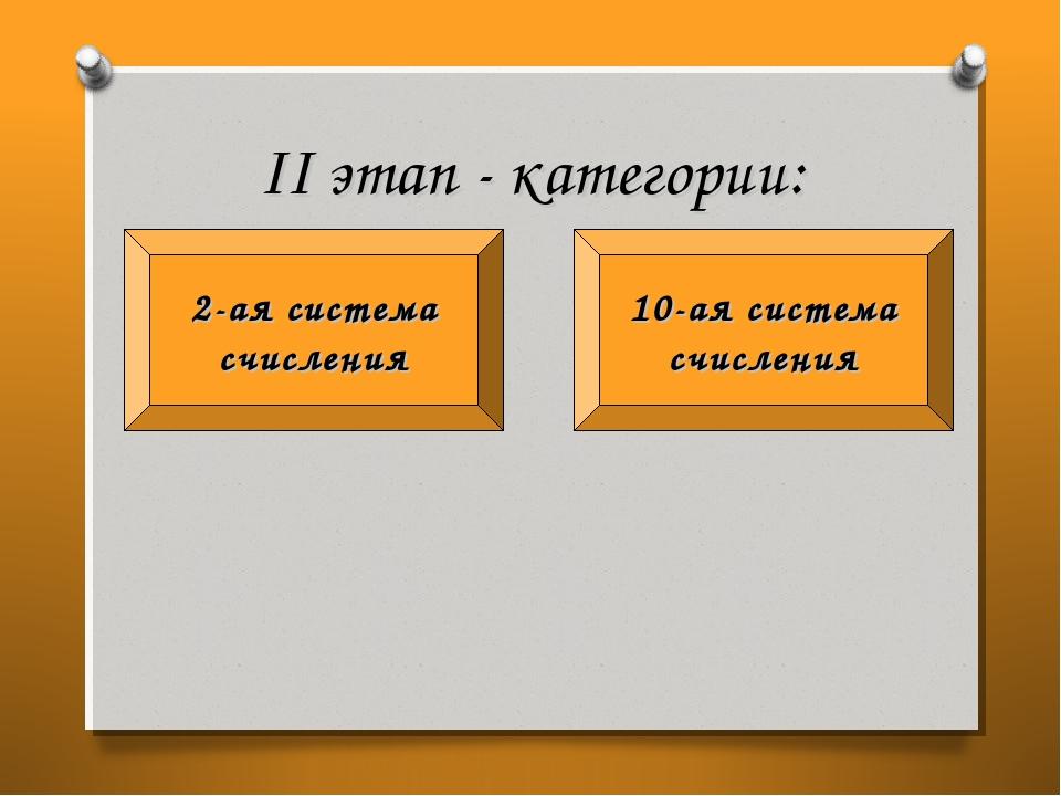 II этап - категории: 10-ая система счисления 2-ая система счисления