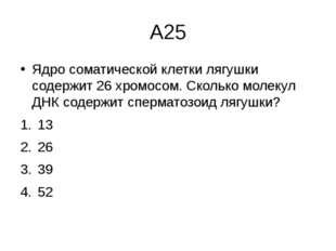 А25 Ядро соматической клетки лягушки содержит 26 хромосом. Сколько молекул ДН