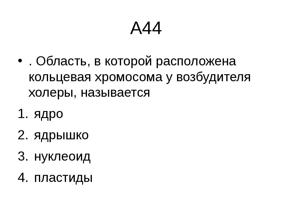 А44 . Область, в которой расположена кольцевая хромосома у возбудителя холеры...
