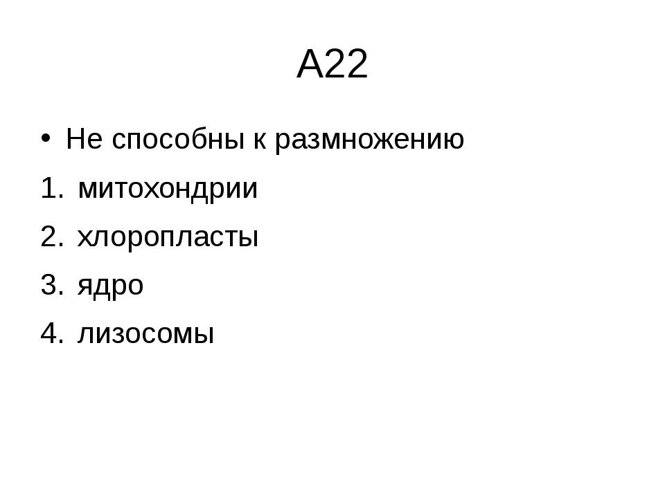 А22 Не способны к размножению митохондрии  хлоропласты  ядро  лизосомы
