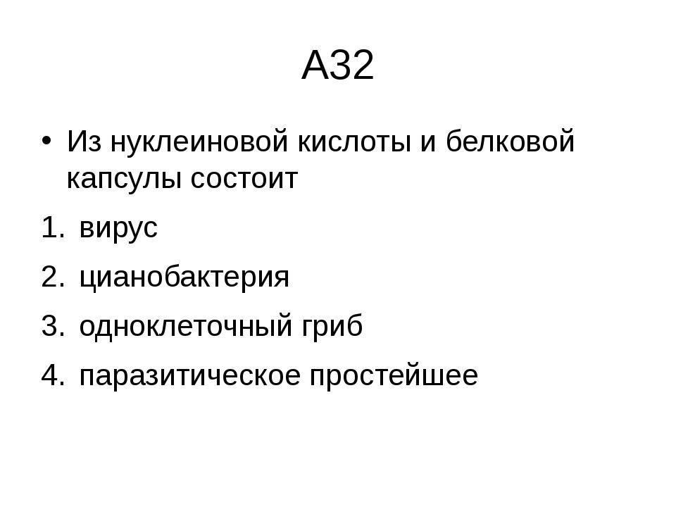 А32 Из нуклеиновой кислоты и белковой капсулы состоит вирус  цианобактерия...