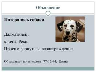 Объявление Потерялась собака Далматинец, кличка Рекс. Просим вернуть за возна