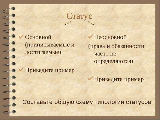 Статус Основной (приписываемые и достигаемые) Приведите пример Неосновной (пр...