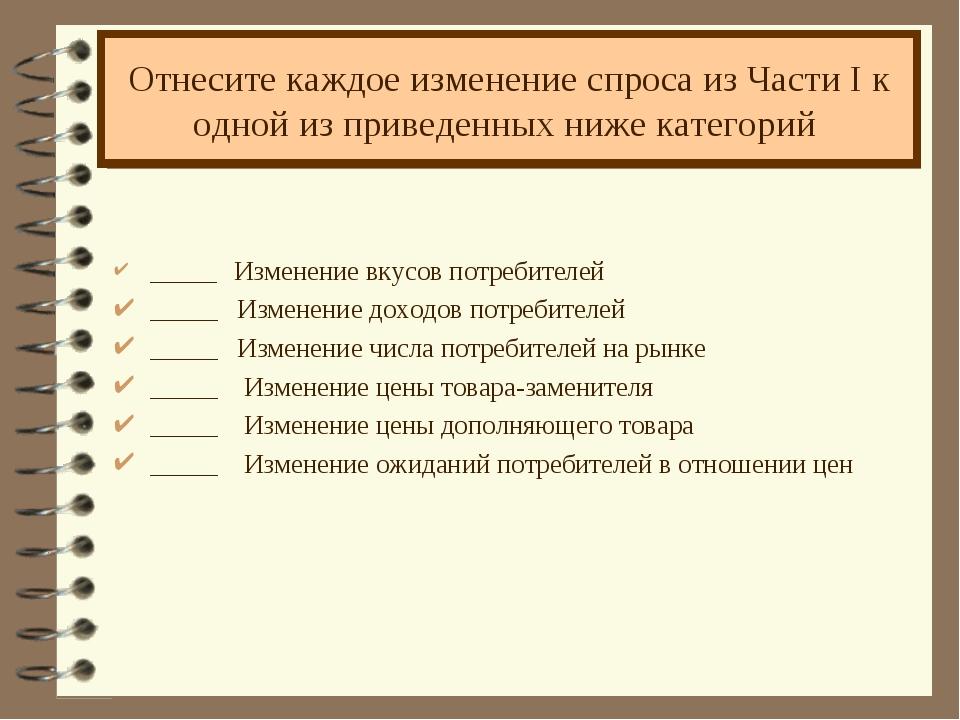 Отнесите каждое изменение спроса из Части I к одной из приведенных ниже катег...