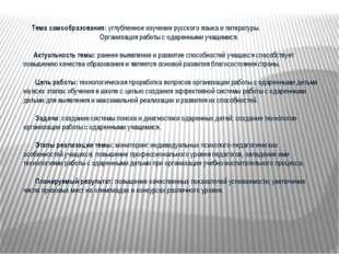 Тема самообразования: углубленное изучение русского языка и литературы. Орга