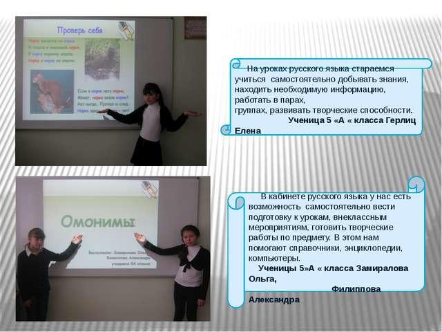 На уроках русского языка стараемся учиться самостоятельно добывать знания, н...