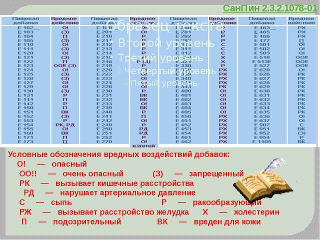 СанПин 2.3.2.1078-01 Условные обозначения вредных воздействий добавок: О!...