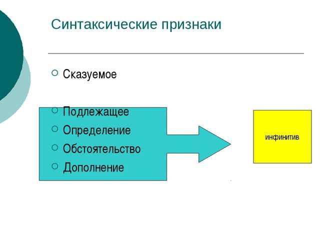 Синтаксические признаки Сказуемое Подлежащее Определение Обстоятельство Допол...