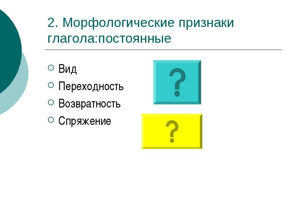 2. Морфологические признаки глагола:постоянные Вид Переходность Возвратность...