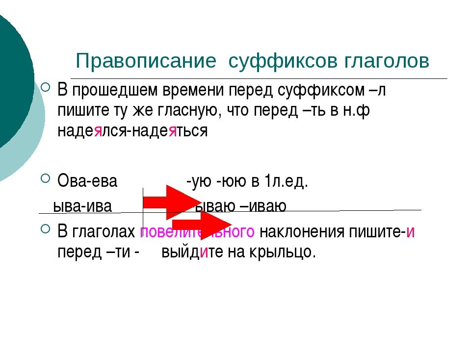 Правописание суффиксов глаголов В прошедшем времени перед суффиксом –л пишите...