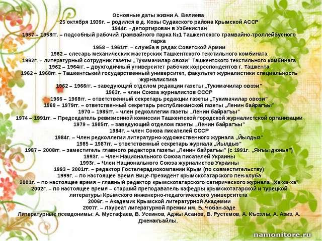 Основные даты жизни А. Велиева 25 октября 1939г. – родился в д. Козы Судакско...