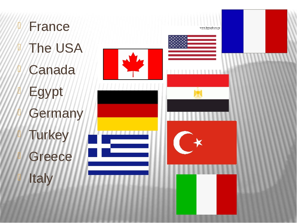 France The USA Canada Egypt Germany Turkey Greece Italy