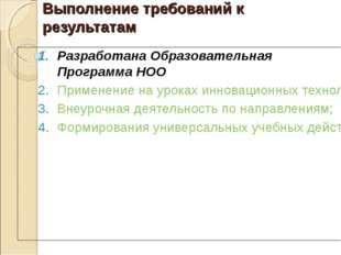 Выполнение требований к результатам Разработана Образовательная Программа НОО