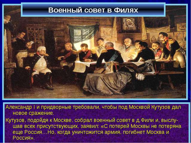 Военный совет в Филях Александр I и придворные требовали, чтобы под Москвой К...