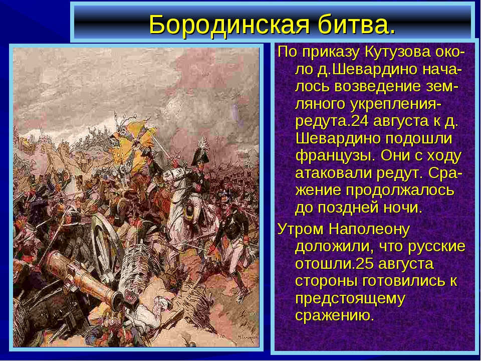 Бородинская битва. По приказу Кутузова око-ло д.Шевардино нача-лось возведени...