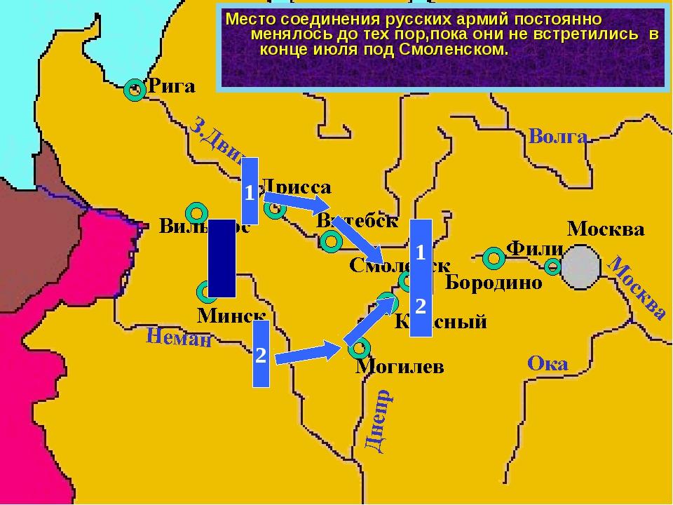 Место соединения русских армий постоянно менялось до тех пор,пока они не встр...