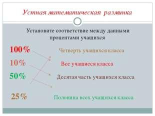 Устная математическая разминка Установите соответствие между данными процента