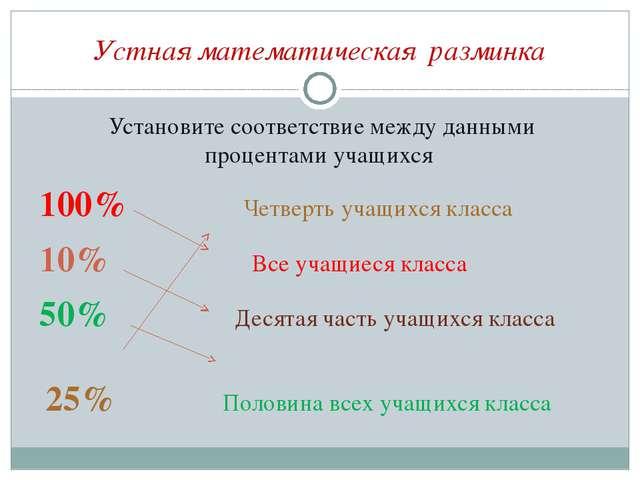 Устная математическая разминка Установите соответствие между данными процента...
