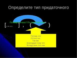 Определите тип придаточного […. ] , ( ) Почему? отчего? По какой причине? Пот