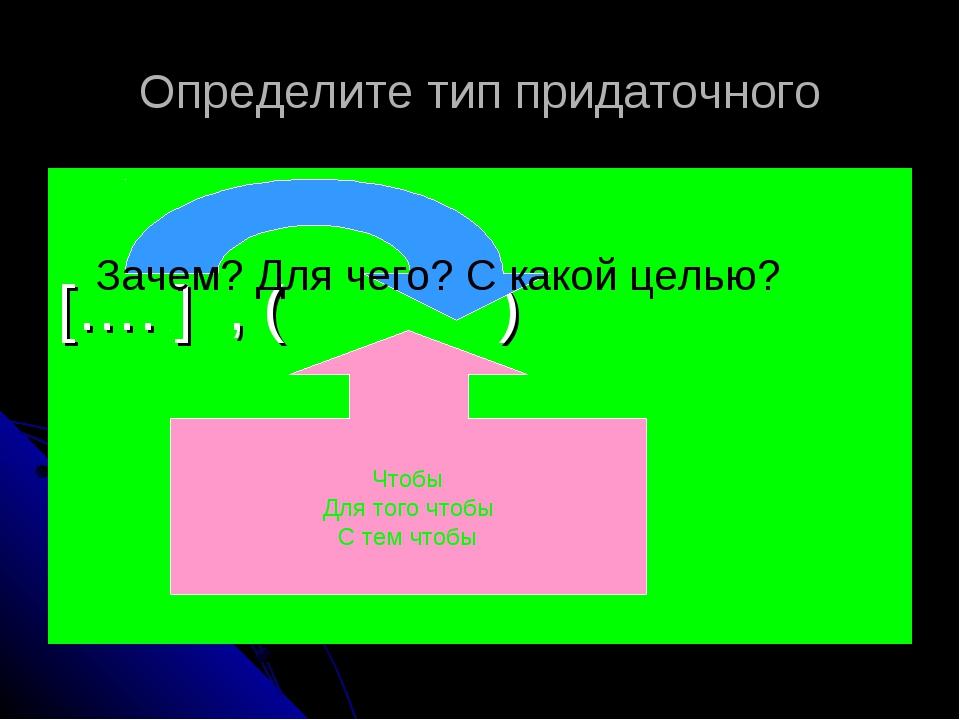Определите тип придаточного […. ] , ( ) Зачем? Для чего? С какой целью? Чтобы...