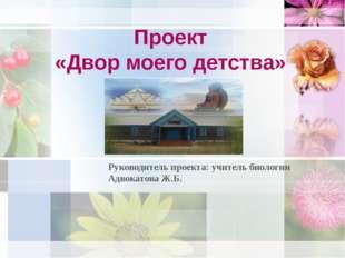 Проект «Двор моего детства» Руководитель проекта: учитель биологии Адвокатова